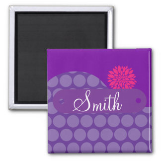 Personalized Name Purple Polka Dots Pink Flower 2 Inch Square Magnet