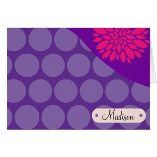 Personalized Name Purple Polka Dots Pink Flower Card