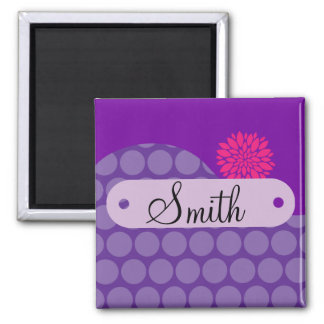 Personalized Name Purple Polka Dots Pink Flower Fridge Magnet