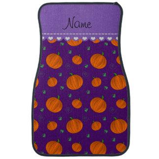 Personalized name purple pumpkins car floor mat