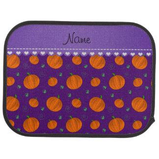Personalized name purple pumpkins car mat