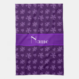 Personalized name purple puzzle hand towel