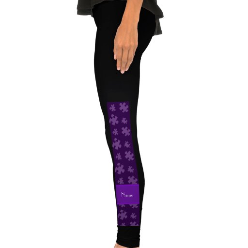 Personalized name purple puzzle leggings