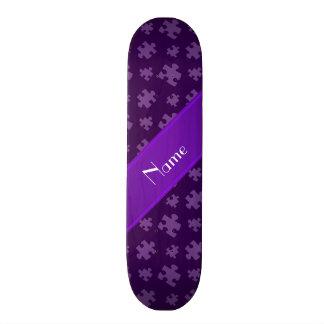 Personalized name purple puzzle skate board