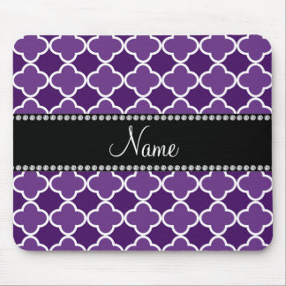 Personalized name Purple quatrefoil pattern Mouse Pad
