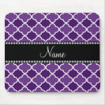Personalized name Purple quatrefoil pattern Mouse Pads