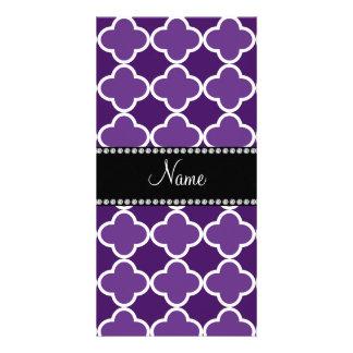 Personalized name Purple quatrefoil pattern Photo Card