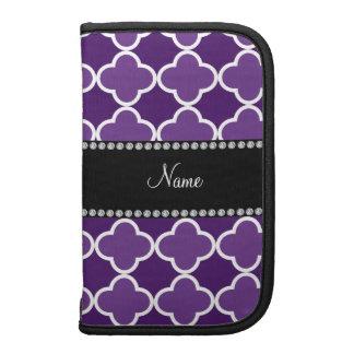 Personalized name Purple quatrefoil pattern Folio Planners