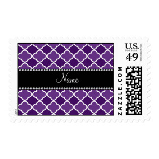 Personalized name Purple quatrefoil pattern Stamps