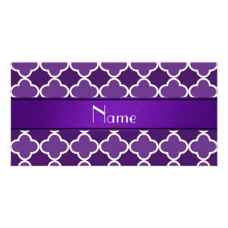 Personalized name Purple quatrefoil purple stripe Photo Card