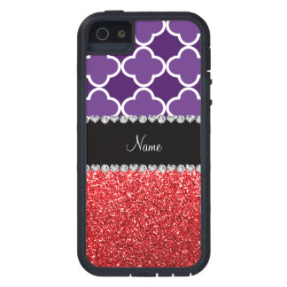 Personalized name purple quatrefoil red glitter iPhone 5 case