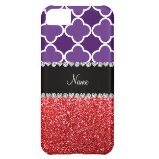 Personalized name purple quatrefoil red glitter iPhone 5C case
