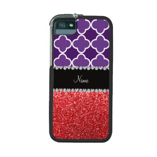 Personalized name purple quatrefoil red glitter iPhone 5/5S cases