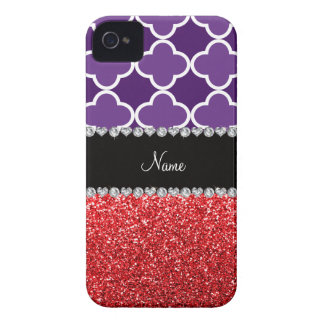 Personalized name purple quatrefoil red glitter Case-Mate iPhone 4 cases