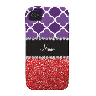 Personalized name purple quatrefoil red glitter vibe iPhone 4 covers