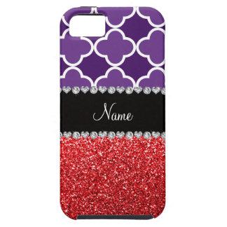 Personalized name purple quatrefoil red glitter iPhone 5 cover