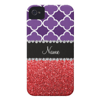 Personalized name purple quatrefoil red glitter iPhone 4 cases