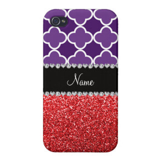 Personalized name purple quatrefoil red glitter covers for iPhone 4