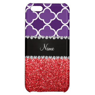 Personalized name purple quatrefoil red glitter iPhone 5C covers