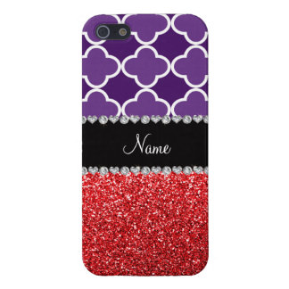 Personalized name purple quatrefoil red glitter iPhone 5 covers