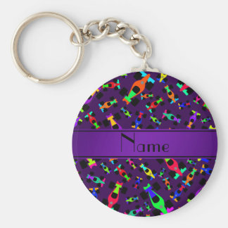 Personalized name purple race car pattern basic round button keychain