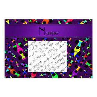 Personalized name purple race car pattern photo print