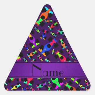 Personalized name purple race car pattern triangle sticker