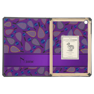 Personalized name purple racquetball pattern iPad air covers