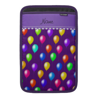 Personalized name purple rainbow birthday balloons sleeve for MacBook air