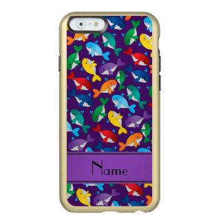 Personalized name purple rainbow blue whales incipio feather shine iPhone 6 case