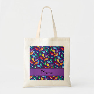 Personalized name purple rainbow blue whales tote bag