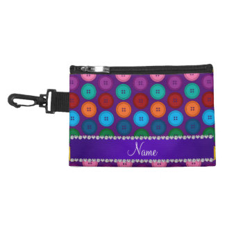 Personalized name purple rainbow buttons pattern accessory bag