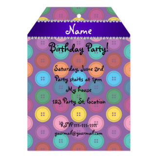 Personalized name purple rainbow buttons pattern 5x7 paper invitation card