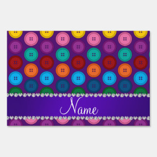 Personalized name purple rainbow buttons pattern lawn signs
