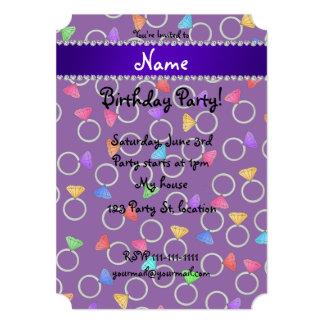 Personalized name purple rainbow diamond rings 5x7 paper invitation card