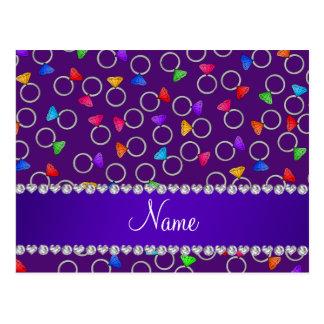 Personalized name purple rainbow diamond rings postcard
