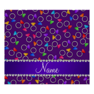 Personalized name purple rainbow diamond rings poster