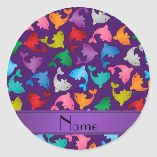 Personalized name purple rainbow dolphins classic round sticker