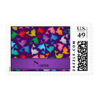 Personalized name purple rainbow dolphins postage