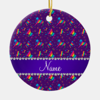 Personalized name purple rainbow horses stars ceramic ornament