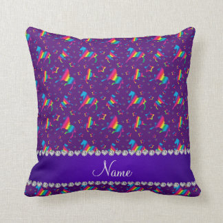 Personalized name purple rainbow horses stars throw pillow