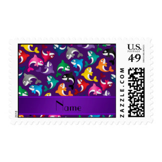 Personalized name purple rainbow killer whales postage