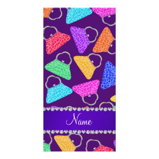 Personalized name purple rainbow leopard purses photo card
