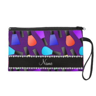 Personalized name purple rainbow nail polish wristlet purses