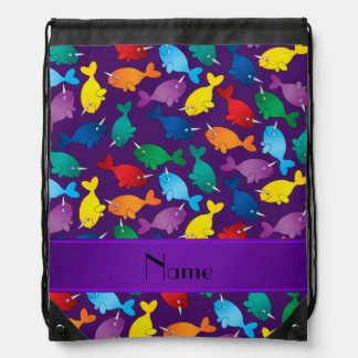 Personalized name purple rainbow narwhals drawstring bag