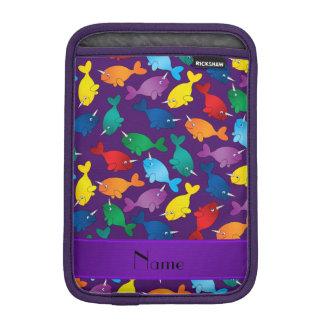 Personalized name purple rainbow narwhals iPad mini sleeve