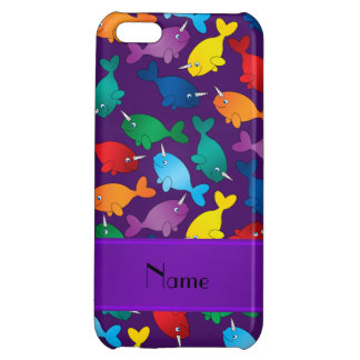 Personalized name purple rainbow narwhals iPhone 5C cover