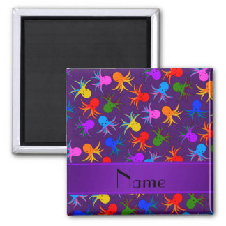 Personalized name purple rainbow octopus 2 inch square magnet