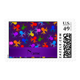 Personalized name purple rainbow octopus postage