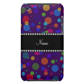 Personalized name purple rainbow polka dots iPod Case-Mate case